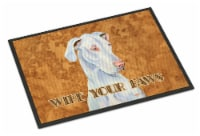 White Great Dane Wipe your Paws Indoor or Outdoor Mat 18x27