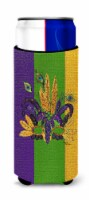 Mardi Gras Feathered Mask Ultra Beverage Insulators for slim cans - Slim Can