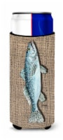 Fish Speckled Trout  on Faux Burlap Ultra Beverage Insulators for slim cans