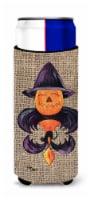 Halloween Pumpkin and Bat Fleur de lis on Faux Burlap Ultra Beverage Insulators - Slim Can