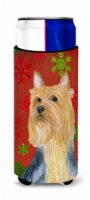 Silky Terrier Red Green Snowflake Holiday Christmas Ultra Beverage Insulators fo - Slim Can