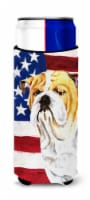 USA American Flag with Bulldog English Ultra Beverage Insulators for slim cans - Slim Can