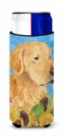 Golden Retriever in Summer Flowers Ultra Beverage Insulators for slim cans - Slim Can