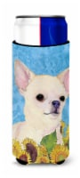 Chihuahua in Summer Flowers Ultra Beverage Insulators for slim cans - Slim Can