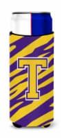 Monogram - Tiger Stripe - Purple Gold  Letter T Ultra Beverage Insulators for sl - Slim Can