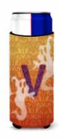 Halloween Ghosts Monogram Initial  Letter V Ultra Beverage Insulators for slim c - Slim Can
