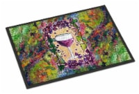 Red Wine Glass and grapes Indoor or Outdoor Mat 18x27 - 18Hx27W