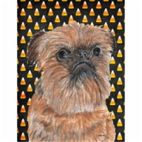 Brussels Griffon Halloween Candy Corn Flag Canvas House Size - House Size