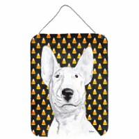 Bull Terrier Halloween Candy Corn Aluminium Metal Wall or Door Hanging Prints - 16HX12W