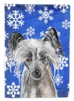 Carolines Treasures  SC9606-FLAG-PARENT Chinese Crested Blue Snowflake Winter Fl