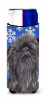 Brussels Griffon Blue Snowflake Winter Ultra Beverage Insulators for slim cans - Slim Can