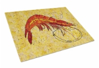 Carolines Treasures  8126LCB Cooked Shrimp on Yellow speckle Glass Cutting Board