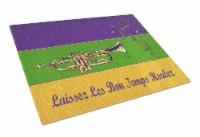 Carolines Treasures  8382LCB Mardi Gras and Trumpet Glass Cutting Board - 12Hx15W