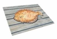 Carolines Treasures  8495LCB Flounder on the wharf Glass Cutting Board