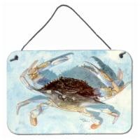 Carolines Treasures  8011DS812 Blue Crab Aluminium Metal Wall or Door Hanging Pr - 8HX12W