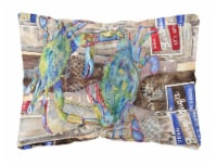 Blue Crabby Bottles of Barqs Rootbeer   Canvas Fabric Decorative Pillow - 12Hx16W