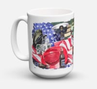 Barq's and Armed Forces Dishwasher Safe Microwavable Ceramic Coffee Mug 15 ounce