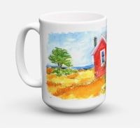 Old Red Cottage House at the lake or Beach Dishwasher Safe Microwavable Ceramic - 15 ounce