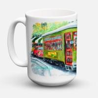 Street Car Dishwasher Safe Microwavable Ceramic Coffee Mug 15 ounce - 15 ounce