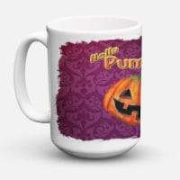Hello Pumpkin Halloween Dishwasher Safe Microwavable Ceramic Coffee Mug 15 ounce