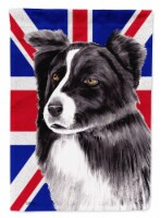 Border Collie with English Union Jack British Flag Flag Canvas House Size