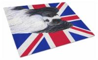 Papillon with English Union Jack British Flag Glass Cutting Board Large Size - 12Hx15W