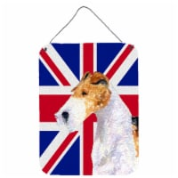 Fox Terrier with English Union Jack British Flag Wall or Door Hanging Prints - 16HX12W