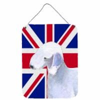 Bedlington Terrier with English Union Jack British Flag Wall or Door Hanging Pri - 16HX12W