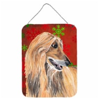 Afghan Hound Red Snowflakes Holiday Christmas  Wall or Door Hanging Prints