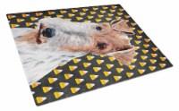 Wire Fox Terrier Candy Corn Halloween Glass Cutting Board Large Size - 12Hx15W