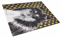 Black and White Collie Candy Corn Halloween Glass Cutting Board Large Size