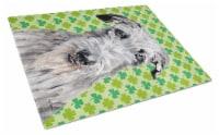 Scottish Deerhound Lucky Shamrock St. Patrick's Day Glass Cutting Board Large Si - 12Hx15W