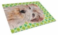 Norfolk Terrier Lucky Shamrock St. Patrick's Day Glass Cutting Board Large Size - 12Hx15W