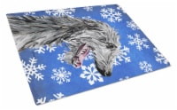Scottish Deerhound Winter Snowflakes Glass Cutting Board Large Size