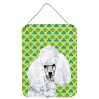 White Toy Poodle Lucky Shamrock St. Patrick's Day Wall or Door Hanging Prints - 16HX12W