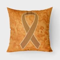 Orange Ribbon for Leukemia Awareness   Canvas Fabric Decorative Pillow