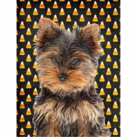 Candy Corn Halloween Yorkie Puppy / Yorkshire Terrier Flag Canvas House Size - House Size