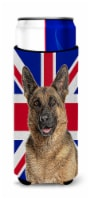 German Shepherd with English Union Jack British Flag Ultra Beverage Insulators f - Slim Can