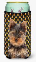 Candy Corn Halloween Yorkie Puppy / Yorkshire Terrier Tall Boy Beverage Insulato - Tall Boy