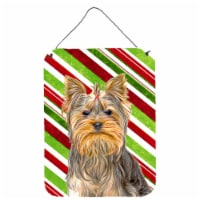 Candy Cane Holiday Christmas Yorkie / Yorkshire Terrier Wall or Door Hanging Pri - 16HX12W