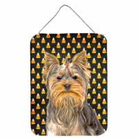 Candy Corn Halloween Yorkie / Yorkshire Terrier Wall or Door Hanging Prints - 16HX12W