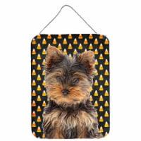Candy Corn Halloween Yorkie Puppy / Yorkshire Terrier Wall or Door Hanging Print - 16HX12W