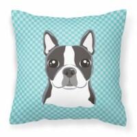 Checkerboard Blue Boston Terrier Canvas Fabric Decorative Pillow