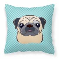 Checkerboard Blue Fawn Pug Canvas Fabric Decorative Pillow - 14Hx14W