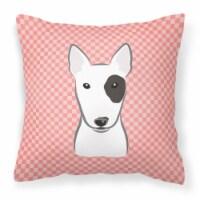Checkerboard Pink Bull Terrier Canvas Fabric Decorative Pillow - 14Hx14W