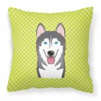 Checkerboard Lime Green Alaskan Malamute Canvas Fabric Decorative Pillow - 14Hx14W