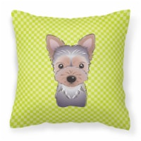 Checkerboard Lime Green Yorkie Puppy Canvas Fabric Decorative Pillow