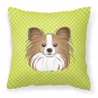Checkerboard Lime Green Papillon Canvas Fabric Decorative Pillow