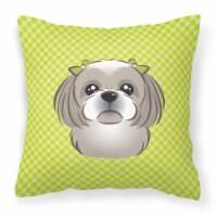 Checkerboard Lime Green Gray Silver Shih Tzu Canvas Fabric Decorative Pillow
