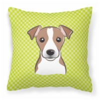 Checkerboard Lime Green Jack Russell Terrier Canvas Fabric Decorative Pillow